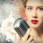 Image of female singer — Stock Photo #21216849
