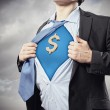 Businessman showing superman suit underneath shirt — Stok fotoğraf