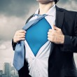 Young superhero businessman — Stock Photo