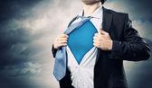 Superbohater młody biznesmen — Zdjęcie stockowe