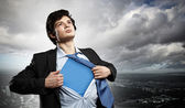 Young superhero businessman — Foto Stock