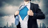 年轻的超级英雄的商人 — 图库照片