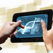 Dna strand On The Tablet Screen — Stock Photo #21246643