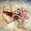 Stock Photo: Gorgeous woman playing on violin