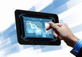 Cadeia de Dna na tela do tablet — Fotografia Stock