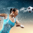 Young woman football player — Stock Photo