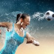 Stock Photo: Young woman football player