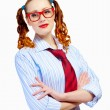 Teenager girl in red glasses — Stock Photo #26302061