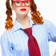 Stock Photo: Teenager girl in red glasses