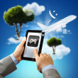 Foto Stock: Close-up of hands holding tablet pc