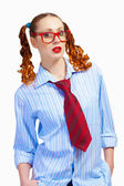 Teenager girl in red glasses — Stock Photo