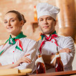 Portrait of two cooks with crossed arms — Stock Photo #26312235