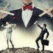 Businessman puppeteer — Foto Stock
