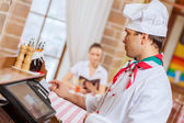 Chef at cafe — Stock Photo