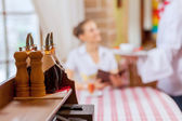 Young woman at restaurant — Stock Photo