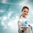 Businesswoman with tablet pc — Stock Photo