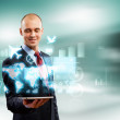 Businessman with tablet pc — Stock Photo