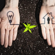 Human hands and ecology symbols — Stock Photo #26348281