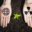 Human hands and ecology symbols — Stock fotografie