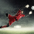 Goalkeeper catches the ball — Stockfoto