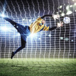 Stock Photo: Goalkeeper catches the ball