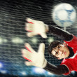 Goalkeeper catches the ball — Photo