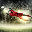 Goalkeeper catches the ball — ストック写真