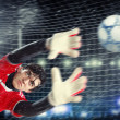 Goalkeeper catches the ball — Stok fotoğraf