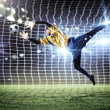 Goalkeeper catches the ball — Stock Photo #26350229