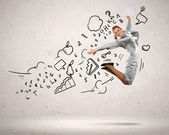Businesswoman jumping — Stock Photo