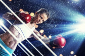 Mujer joven boxeador — Foto de Stock
