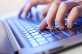 Click! Hands of a man on keyboard — Stock Photo