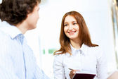 Two students smiling — Stock Photo