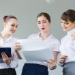 Three young businesswomen — Stock Photo