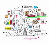Desenho colorido de negócios — Fotografia Stock