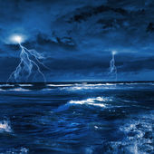 Thunderstorm in sea — Stock Photo
