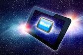 отличный планшет с кнопку пуск — Стоковое фото