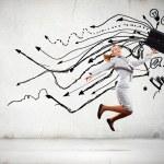 Jumping businesswoman — Stock Photo