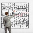 Businessman solving labyrinth problem — Stock Photo #29142203