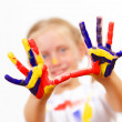 Happy child with paint on the hands — Stok fotoğraf