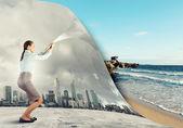 Woman changing reality — Stock Photo
