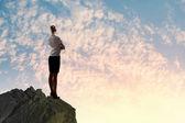 Businesswoman on top of hill — Foto de Stock