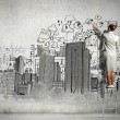 Businesswoman drawing on wall — Stock Photo