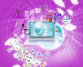 Bakgrundsbild med laptop — Stockfoto