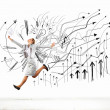 Jumping businesswoman — Stock Photo