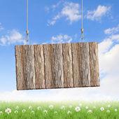 木製の白紙の横断幕 — ストック写真