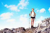 Young woman mountaineer — Stock Photo