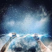 Human hand holding lightning — Stock Photo