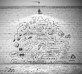 Business sketch on wall — Stock fotografie