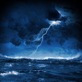 Thunderstorm in sea — Photo